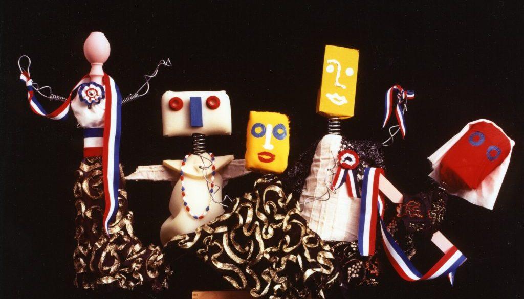Marionette Enrico Baj_Le bleu, blanc, rouge et le noir